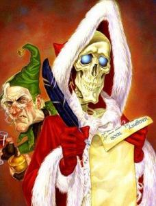 Paul Kidby's version of Death as Hogfather with Albert