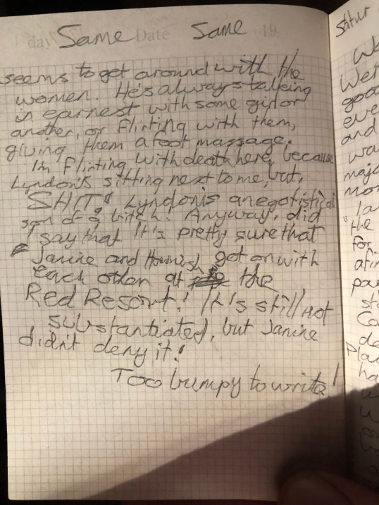 A page from my diary in Year 11.