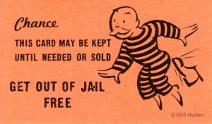 Get out of jail card from Monopoly